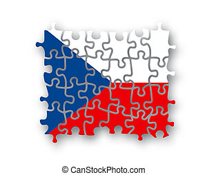 Czech flag jigsaw on white background, Patriotism symbol for...