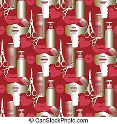 Hair styling tools. - Seamless pattern from hair styling...