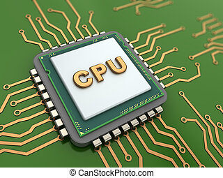 CPU - 3d illustration of CPU over green background