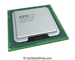 processor - 3d illustration of generic processor over white...