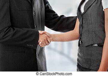 Handshaking - Young business couple handshaking