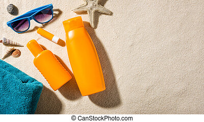 Beach accessories with copy space