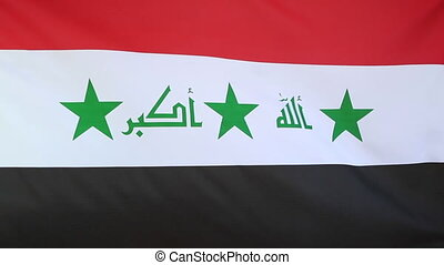 Fabric flag of Iraq moving in the wind