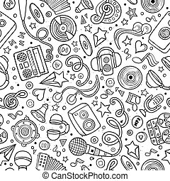 Cartoon hand-drawn musical instruments seamless pattern -...