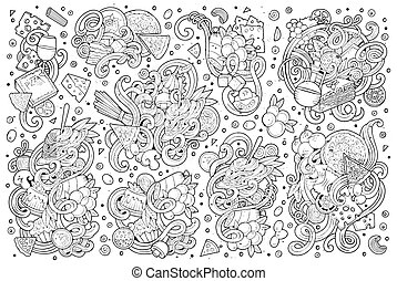 Line art vector cartoon set of italian food objects