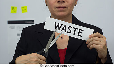Businesswoman Cuts Waste Concept - Female office worker or...