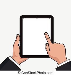 Digital tablet in businessman hands.