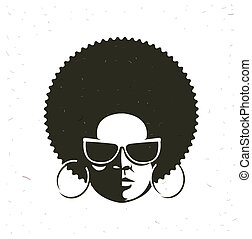 Front view portrait of a black woman face with sunglasses...