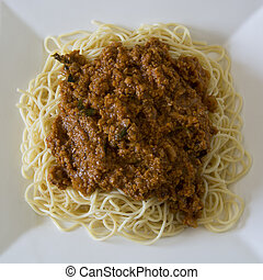 Vegetarian Spaghetti Bolognaise with minced soya