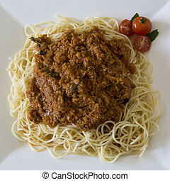 Vegetarian Spaghetti Bolognaise with minced soya (garnished...