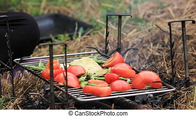 vegetables fried on a grill - tomatos fried on a grill