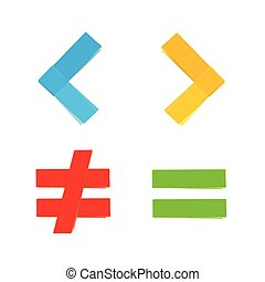 basic mathematical symbols equal less greater - basic...