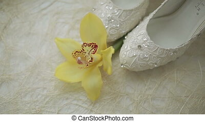 white shoes with a flower - white wedding shoes with a...