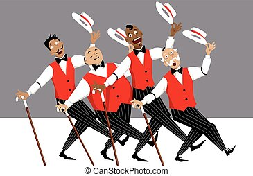 Barbershop quartet on stage - Quartet of singers in...