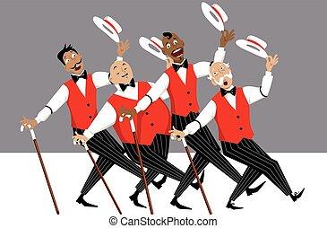 Barbershop quartet on stage - Quartet of singers in...