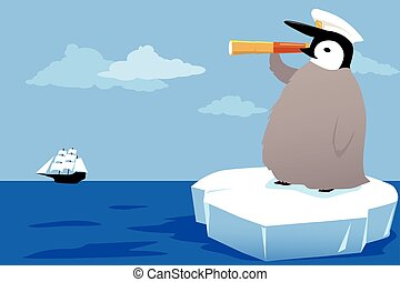 Young explorer - Baby penguin in a captains hat riding an...
