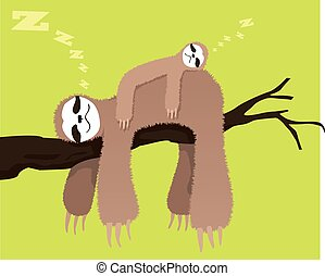 Sloth family - Cartoon sloth sleeping on a branch with a...