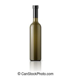 Tall glass wine bottle.
