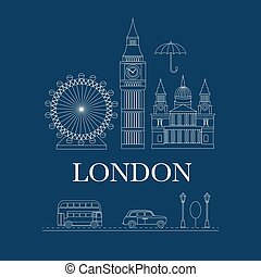 Vector set of London - Set of vector line icons London...