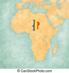 Map of Africa - Chad - Chad (Chadian flag) on the map of...