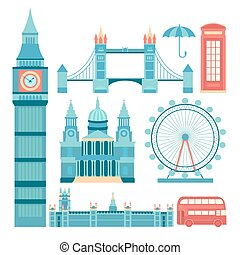 Vector set of London - Set of vector icons London. Sights of...