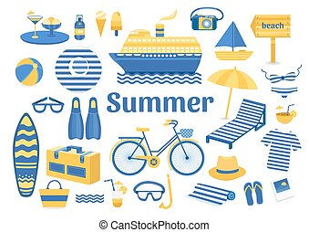 Set of vector summer. Set of flat icons summer vacation....