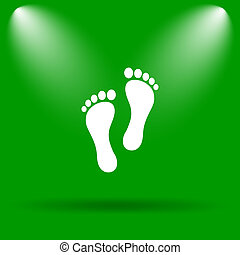 Foot print icon Internet button on green background