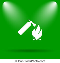 Fire icon Internet button on green background