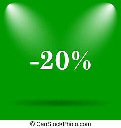 20 percent discount icon Internet button on green background...