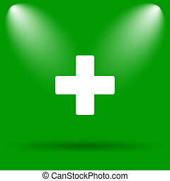 Medical cross icon Internet button on green background