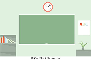 Green chalkboard. Empty schoolroom