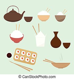 Asian food. cartoon flat icon set
