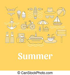 Set of vector summer. Set of icons summer vacation....