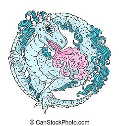 Round dragon character for kids - Vector illustration of...