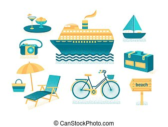 Set of vector summer with texture. Set of icons of summer...