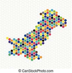 Pakistan map colorful dots - Pakistan map filled with...