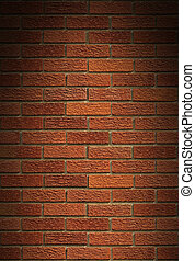 Red brick wall background lit from above