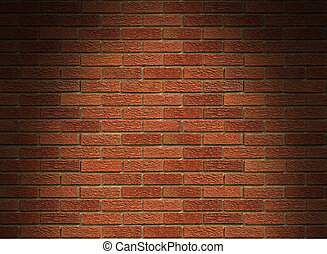 Red brick wall lit from above