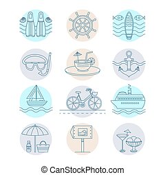 Set of vector summer - Set of vector line icons on the...