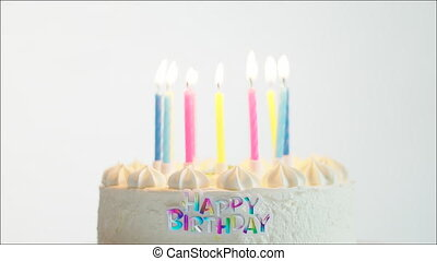 Happy birthday cake with burning candles - Tasty happy...