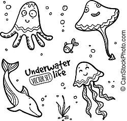 Underwater cratures vector set in doodle style