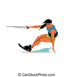Vector Wakeboarding Girl Cartoon Illustration. - Woman on...