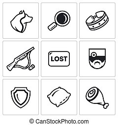 Vector Set of Stray Dogs Icons. Pooch, Search, Capture....