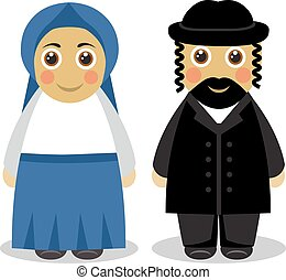 Jewish couple people - Cartoon cute husband and wife Jews in...