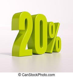 Percentage sign, 20 percent - 3d render: green 20 percent,...