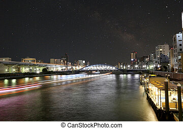 Asakusa dori bridge for crossing sumida river in night view...