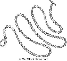 Pocket watch long chain isolated on white background. Vector...