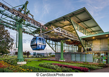 Night lightning of cablecar Teleferico Funchal ground...