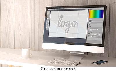 desktop computer graphic design - digital render generated...