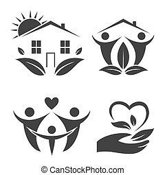 Green house logo set Happy family icon, eco lover Vector...